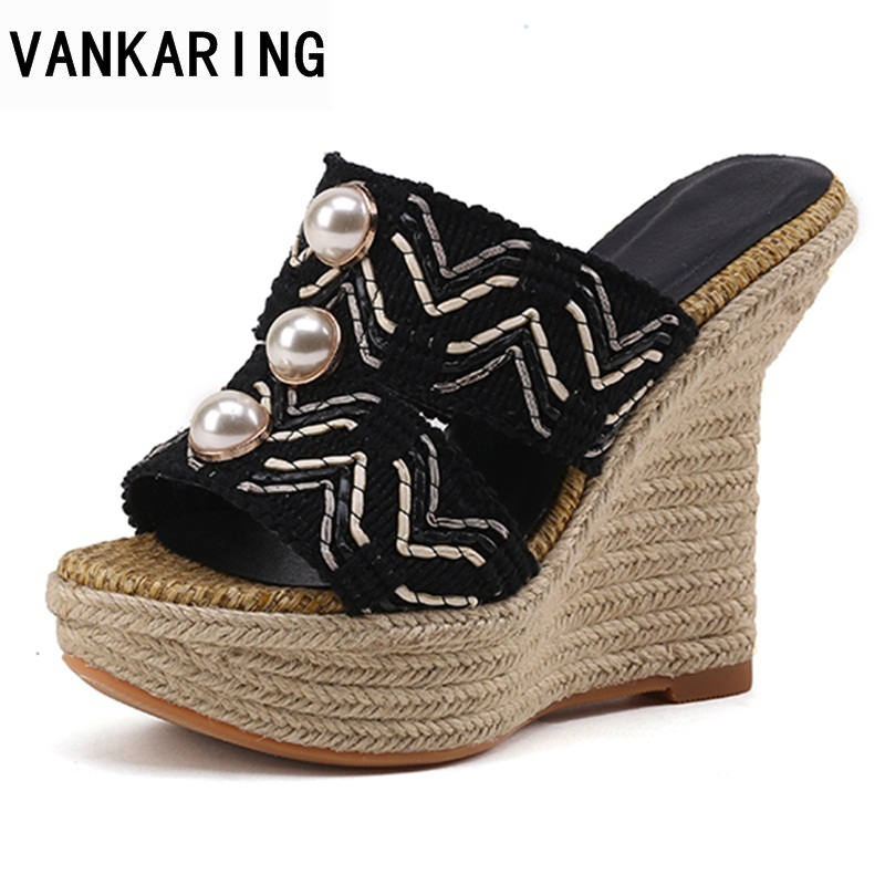 VANKARING platform sandals 2018 new women sandals super high heel open toe pearl shoes dress party shoes wedges shoes for w hot 2018 summer new fashion women sandals wedges shoes high heel sandals platform open toe buckle casual shoes