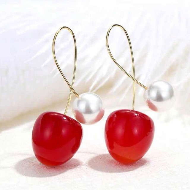 Cute Red Cherry Earrings for Women Fashion Fruit Dangle Earrings Bohemian Pearl Earrings For Women Drops.jpg 640x640 - Cute Red Cherry Earrings for Women Fashion Fruit Dangle Earrings Bohemian Pearl Earrings For Women Drops Earrings Christmas Gift