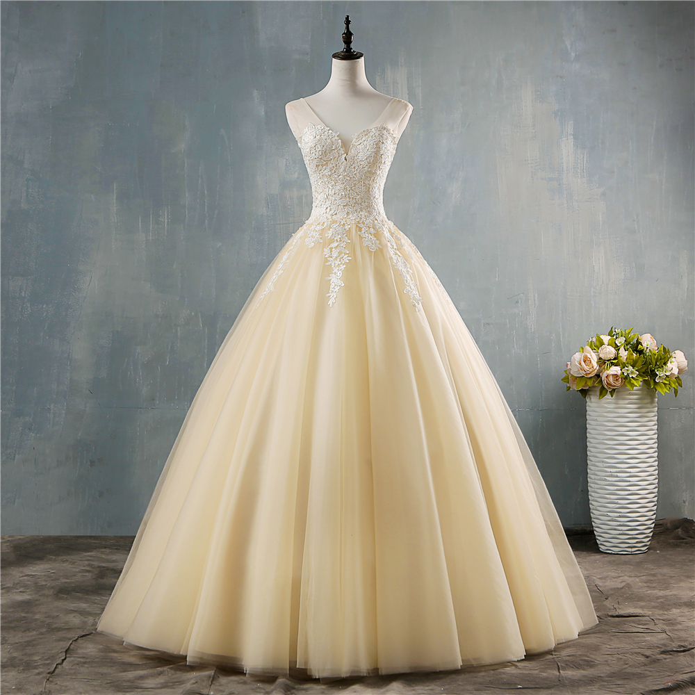 ZJ9146 2019 New White Ivory Deep V Neck Elegant Ball Gown Champagne Wedding Dresses For Brides Lace Plus Size 2-26W