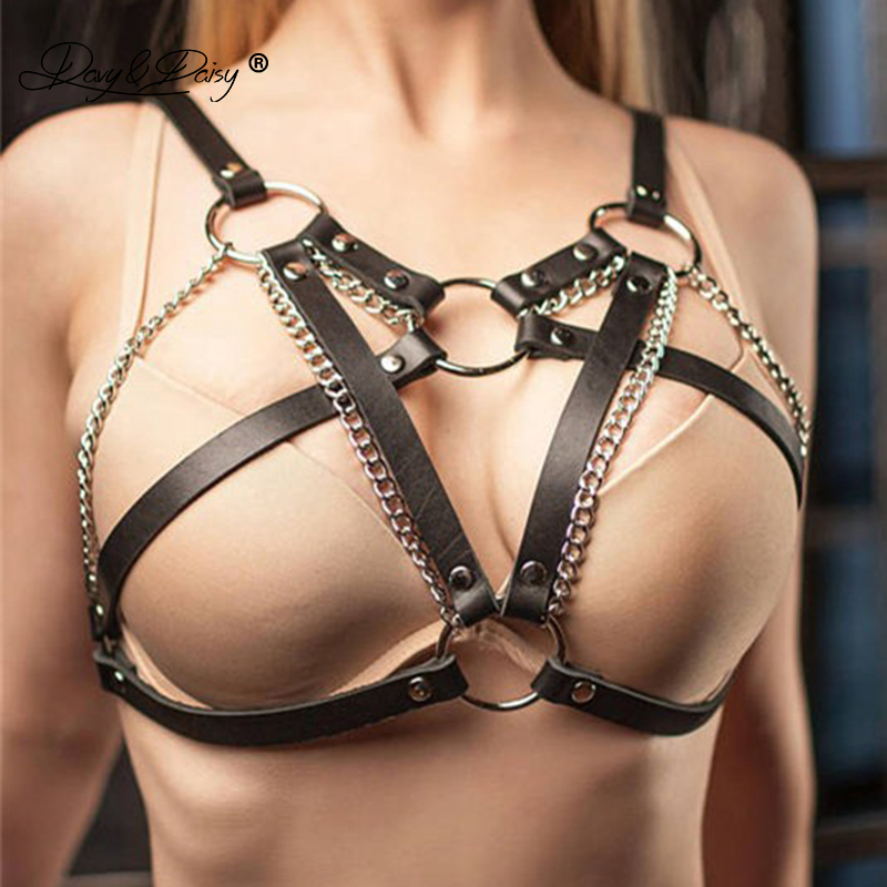 DAVYDAISY Women Sexy Leather Bra Open Bust Bralette Metal Chain Belt Bandage Sexy Lingerie Nightclub Cropped Top BR510