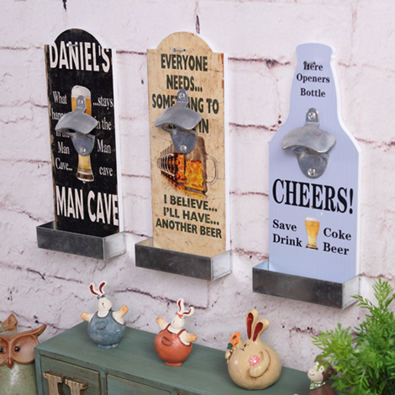 bar wall decoration american country style retro bar restaurant beer bottle openers wooden wall hanging opener american country style font