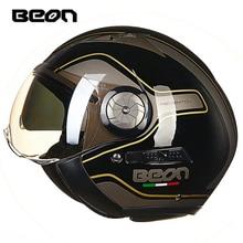 BEON motosiklet kask 3/4 açık yüz motosiklet Moto kasko Capacete Vintage Retro Biker Scooter kask çift vizör
