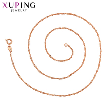 Xuping Elegant Jewelry Long Necklace Rose Gold-color Plated