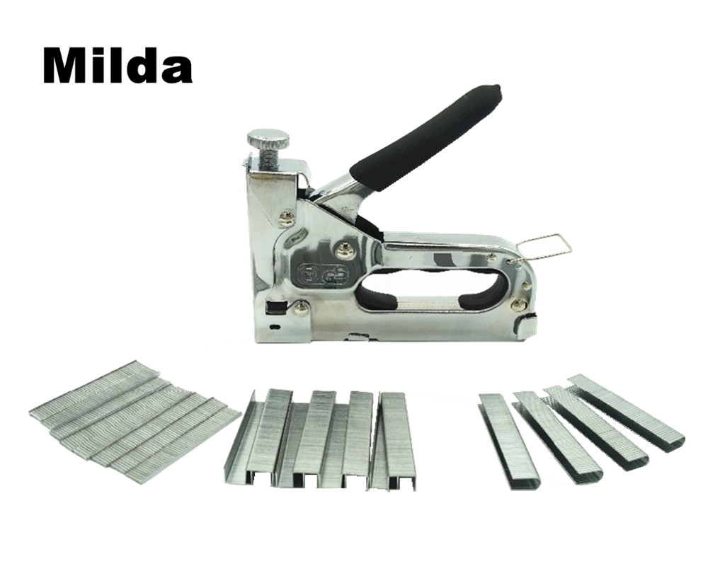 Milda 3-way دليل الثقيلة مسدس مسامير اليد الأثاث دباسة ل تأطير مع 1000 قطعة المواد الغذائية بواسطة أدوات النجارة الحرة
