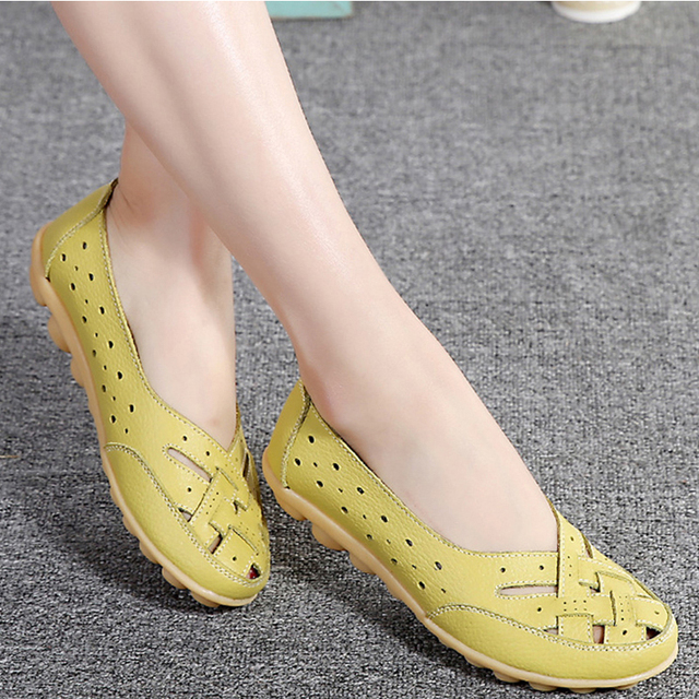 Flats For Women  Comrfort Genuine Leather Flat Shoes Woman Slipony Loafers Ballet Shoes Female Moccasins Big Size 35-44 4