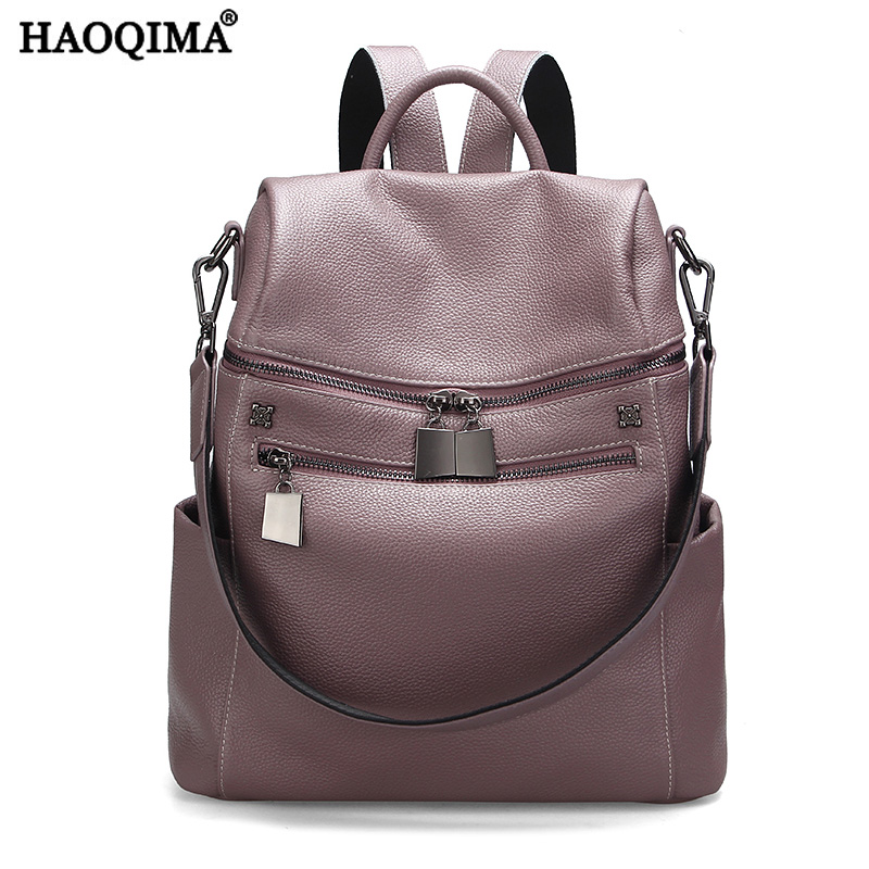 HAOQIMA Genuine Cow Leather Designer Backpacks School Bags First Layer Cow Leather Women Girls Female Fashion 2018 New Rucksack haoqima famous brand women genuine cow leather girls backpack designer shoulder girl school bag for teenagers travel backpacks