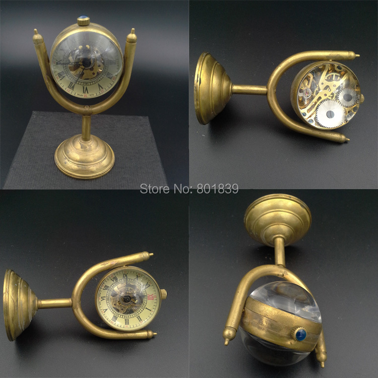 Crystal Ball Watch Bronze Tone  Skeleton Clock Nice Xmas Gift  Wind Up Mechanical Watch Wholesale Price H040