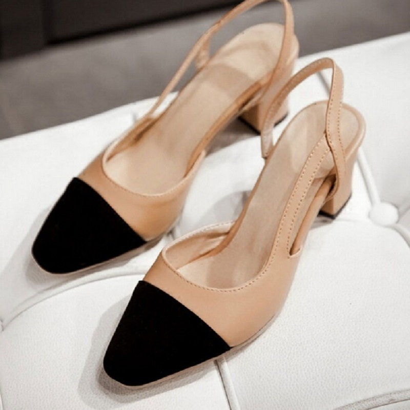 Black Nude Women Shoes Thick Heel Round