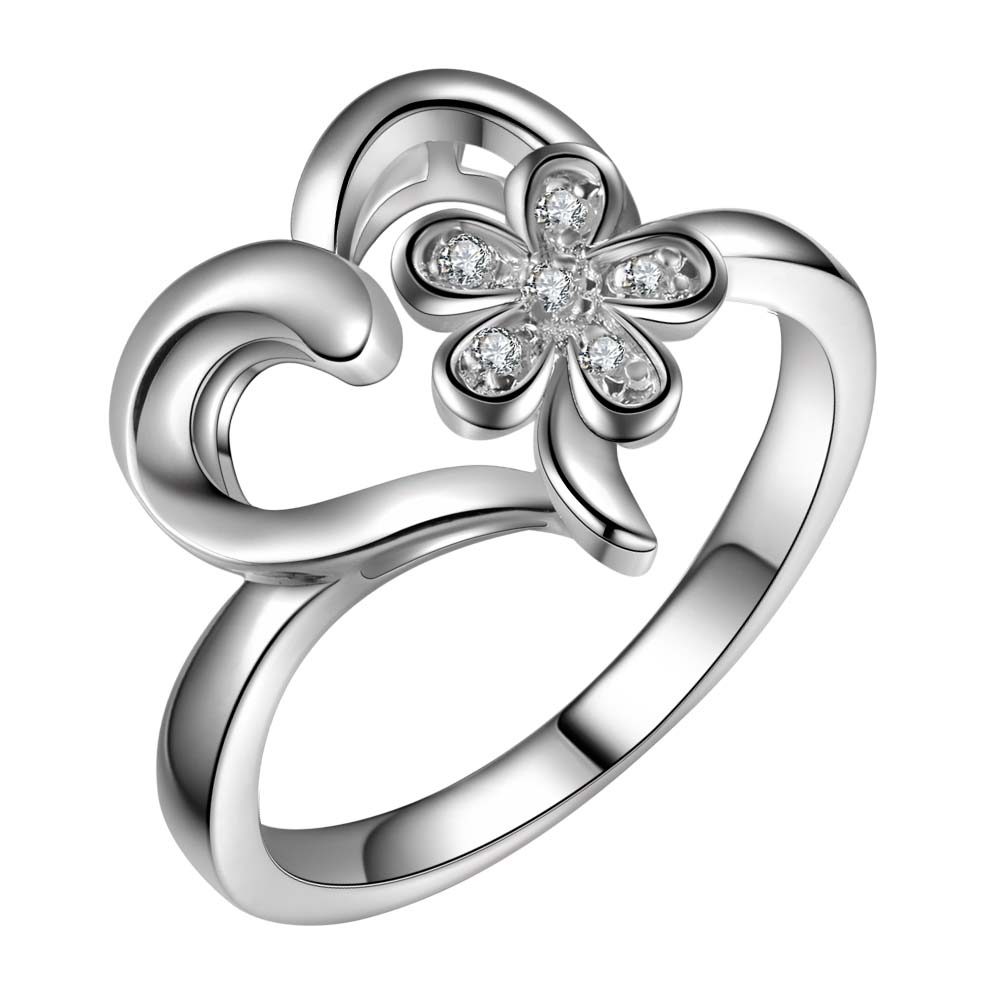 Double heart adjustable ring size 6 7 8 9 crystal Womens white gold filled Lot