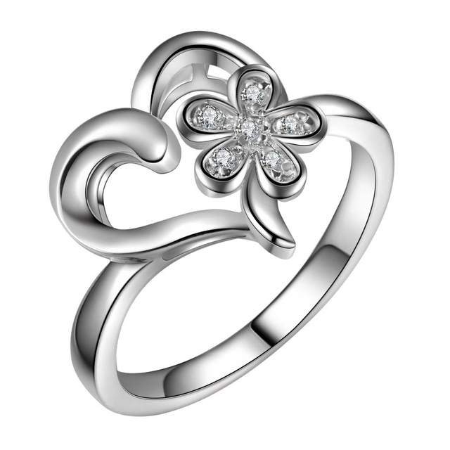beautiful charms love heart flower Wholesale 925 jewelry silver plated ring size