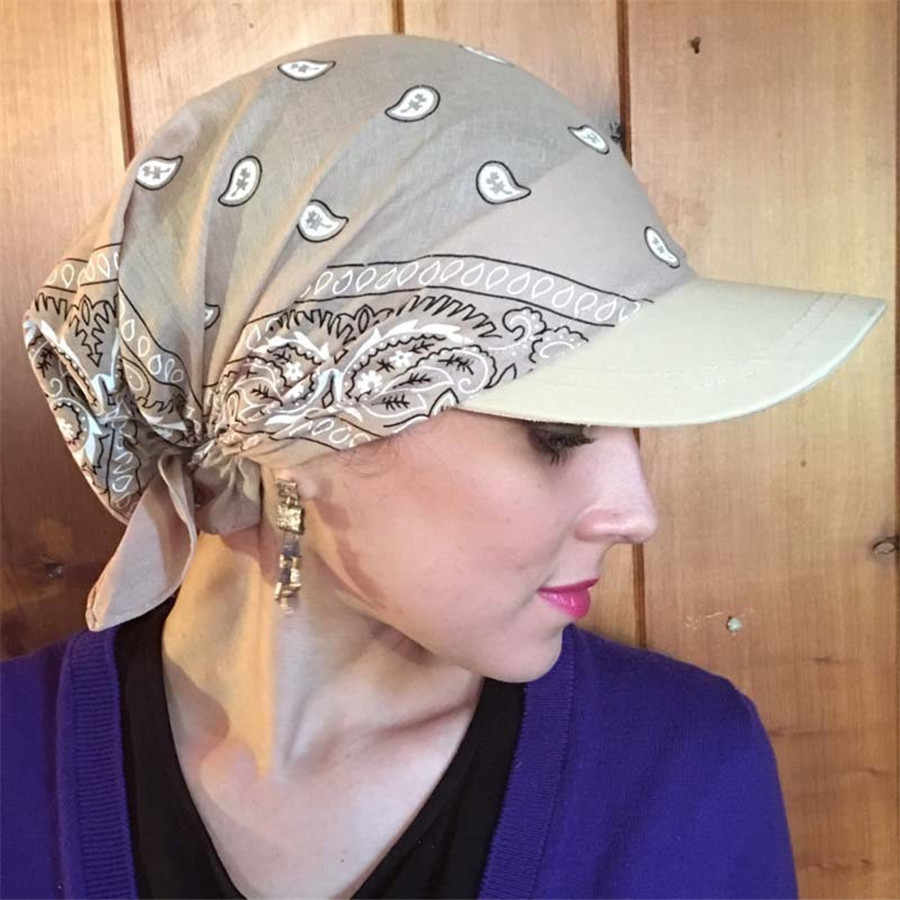 Hot Sale Wanita India Muslim Retro Bunga Warna Kapas Handuk Cap Brim Sorban Topi Bisbol Bungkus Adjustable 2020 # D