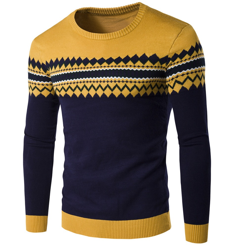 New Brand Pullover Casual Sweater Mens O-Neck Diamond Slim Knit Mens High Quality Sweater Mens Pullover