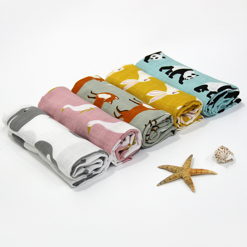 2 Pcs Baby Towel 58x58cm 2 Layers Organic Cotton gauze Material Children Towels Soft Cartoon Towel Baby Bath Towel For Newborns