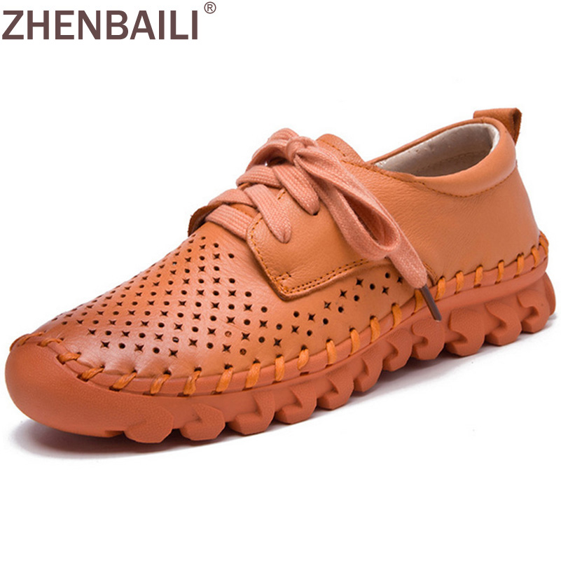 Women Casual Flat Shoes 2017 Spring Summer Fashion Genuine Leather Hollow Out Breathable Soft Women Sewing Shoes Lace up Flats ege brand handmade genuine leather spring shoes lace up breathable men casual shoes new fashion designer red flat male shoes