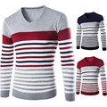 2016 New Winter Men Collar Striped Sweater Hedging Spell Color Slim Shirt M-XXL Size Free Shipping