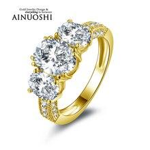 Ainuoshi 10 k sólido oro amarillo anillos de boda de tres filas de perforación Oval Cut Joyeria Fina Joyería Fina de 2 Quilates de Compromiso de Las Mujeres anillo