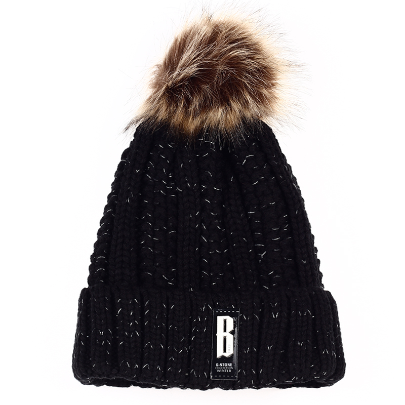 VORON 2017 NEW Beanies Women Winter Hats Crochet Cap Fur knitted Pompons Ball girl Gorros Thick Female Cap Warm hat winter women beanies pompons hats warm baggy casual crochet cap knitted hat with patch wool hat capcasquette gorros de lana