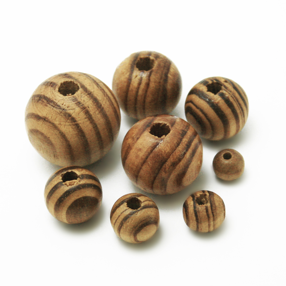 US $1 61 10% OFF|Hot Multi size 8 24mm Coffee Color Stripe Wood Beads  Natural Round Ball Bead For Making DIY Fashion Jewelry Necklace Bracelet-in