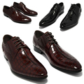 2017 oxford shoes Wine Red/ black Lace-Up mens business dress shoes genuine leather pointed toe mens wedding shoes