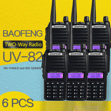 (6 PCS)BaoFeng UV-82 Dual-Band 136-174/400-520 MHz FM Ham Two way Radio, Transceiver, baofeng 82 walkie talkie