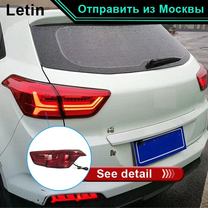 Letin Car Styling led montaggio luce della coda posteriore della lampada per IX25 Creta freno + retromarcia + dinamica che scorre turno sequenziale segnale