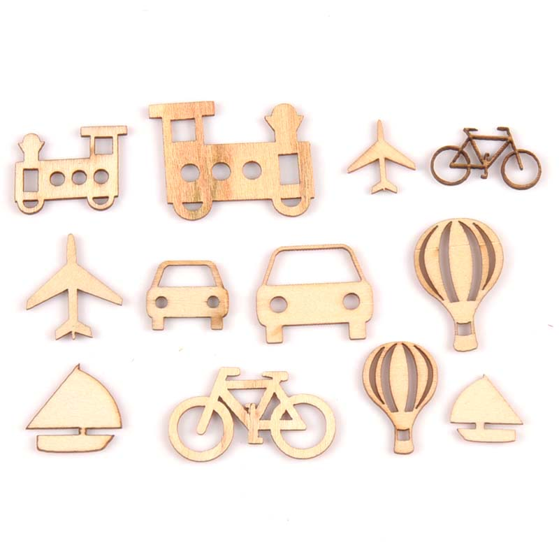 24Pcs 10-25mm Mixed Mini Vehicle Wooden Ornaments Scrapbooking DIY Crafts Accessory Natural Wood Slices For Home Decor M1700