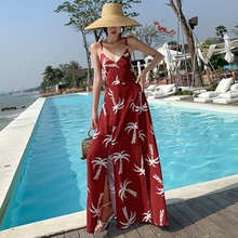 Bohemian Women Maxi Dress Sexy V-neck Sling Long Dress Open Back Lace-up Beach Dresses