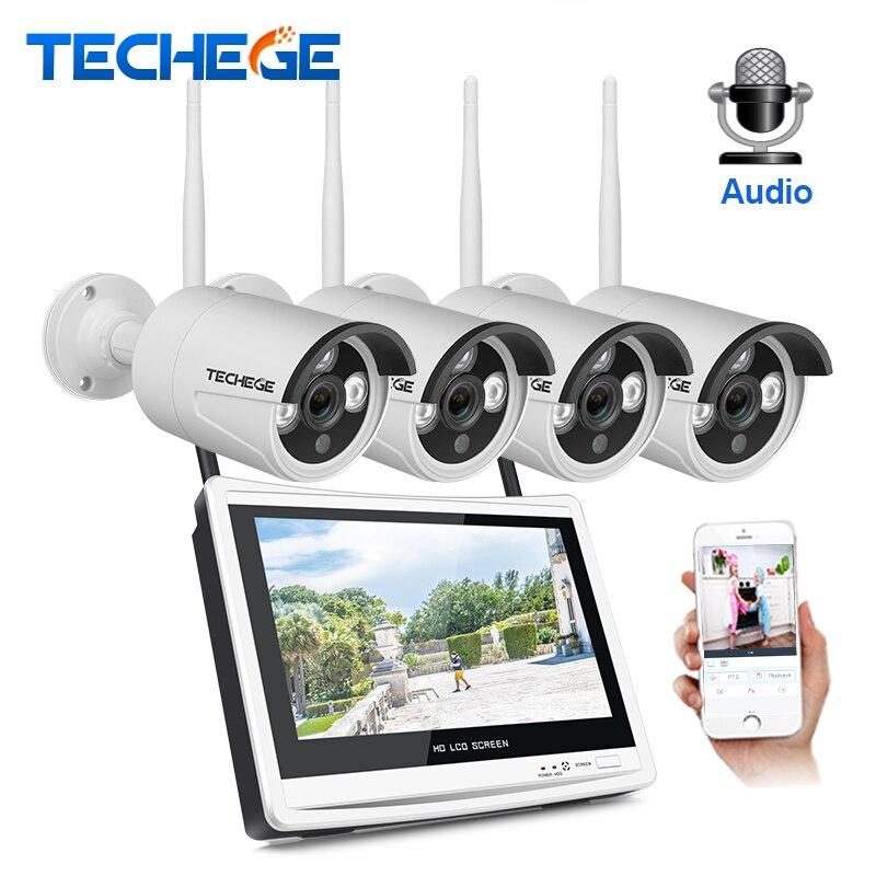 Techege 4CH 1080 p Sans Fil NVR Kits 12 pouces LCD Affichage 2MP HD Extérieure Audio Caméra IP Système de Sécurité À Domicile kits de Surveillance