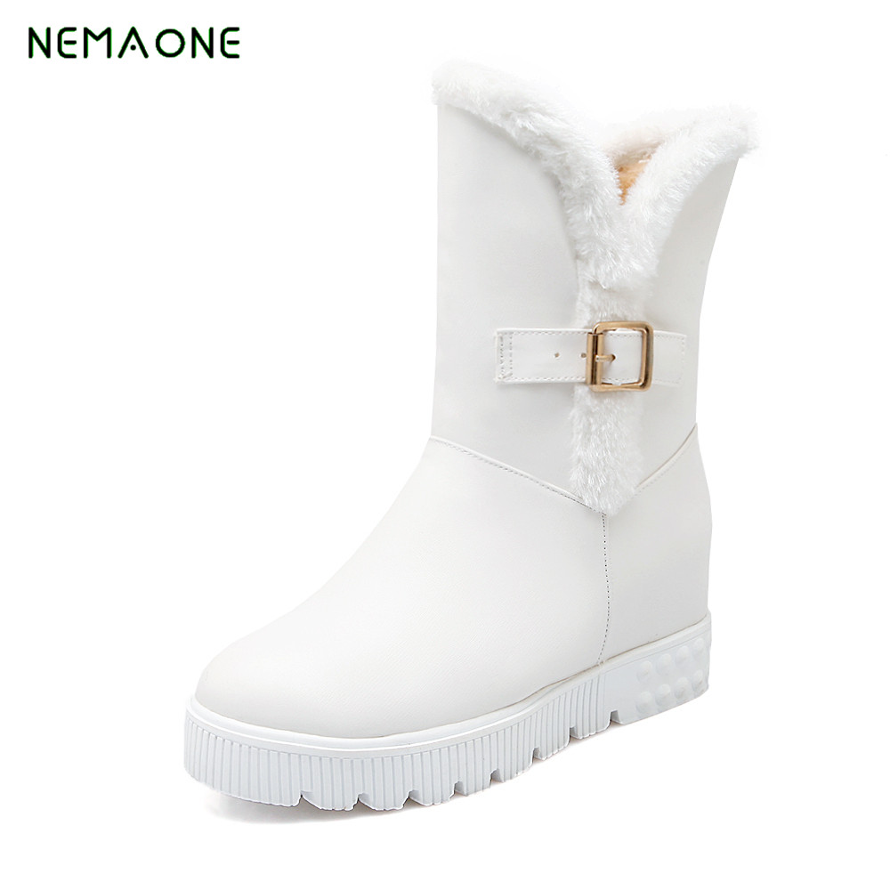 NEMAONE NEW Warm fur winter slip on wedges high heels women shoes sexy platform flock snow boots woman