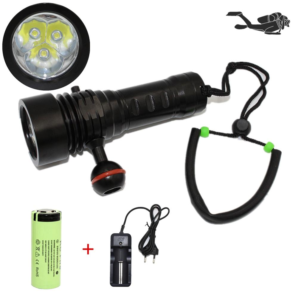 Underwater Photography Diving Flashlight P3-L2 3* CREE L2 LED 3000 Lumen Video Photo Light Lamp Waterproof Lanterna