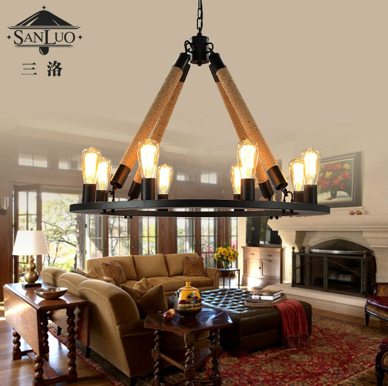 american country style wrought iron garden industrial hemp rope creative retro living room chandelier lamp bar american country style font
