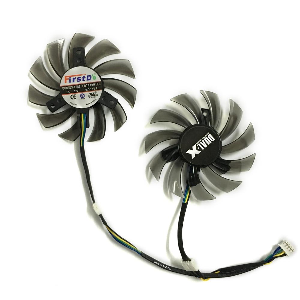 2 pcs/lot 75mm DC12V 0.35A 4Pin PLD08010S12HH VGA Cooler Fan For Graphics Video Card MSI R5750 R6750 R6670 Dual Fans 2pcs lot everflow t128010sm 75mm dc 12v 0 2a graphics card cooler fan for vga video card xfx hd6790 hd6950