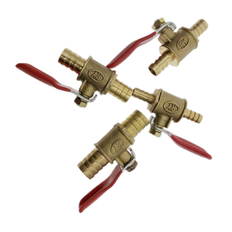 Red Handle Valve 6mm-12mm Hose Barb Inline Brass Water Oil Air Gas Fuel Line Shutoff Ball Valve Pipe Fittings