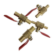 red handle Valve 6mm-12mm Hose Barb Inline Brass Water Oil Air Gas Fuel Line Shutoff Ball Valve Pipe Fittings(China)