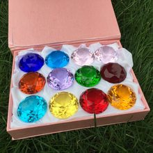 12pcs/Set 40mm Crystal Glass Mixed-Color Diamond Paperweight Wedding Gifts Hot Sale Feng Shui Product With Pink Gift Boxes