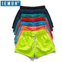 IEMUH Brand Quick Drying Shorts Men Swimwear Men's Surf Swim Boxer Trunks Beach Leisure Sport Pocket Solid Swimsuit Short Man