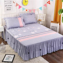 Fitted Sheet Cover Graceful Bedspread Fitted Sheet Bedroom Bed Cover Skirt Wedding Housewarming Gift Bedcover 1.2/1.5/1.8/2.0m(China)