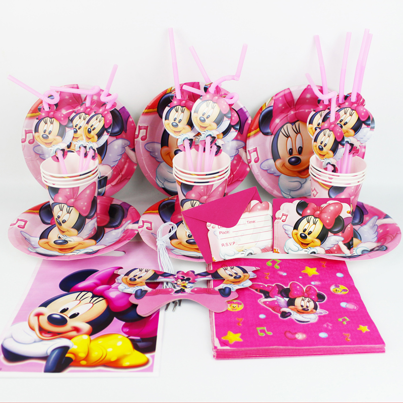 92pcs Minnie Mouse Kids Happy Birthday Party Decoration Plate Cup Straw Napkins Loot Bags For 12 People Supplie In Disposable Tableware From