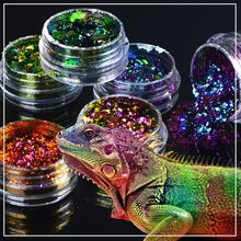 ZKO 2017 hot sell 1 box Chameleon Nail Sequins Glitter holographic powder Dust Dazzling Nails Nail