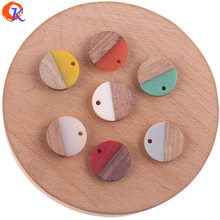 Cordial Design 50Pcs 18*18MM Jewelry Accessories/DIY Making/Round Coin Shape/Natural Wood With Resin/Hand Made/Earring Findings