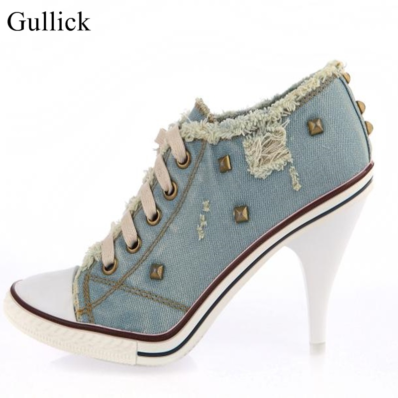 Sexy Blue Jeans High Heel Pump Pointed Toe Lace-up Rivets Dress Shoes Cut-out Gold Studded Denim Ankle Boots For Women Big Size sexy slash collar 3 4 sleeve cut out backless lace dress for women