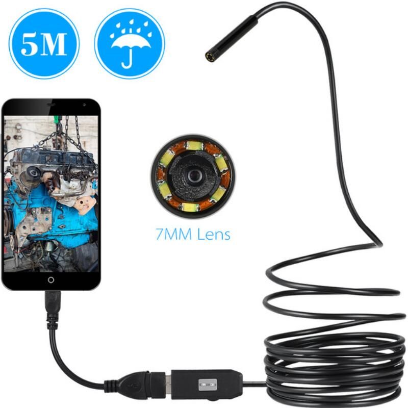 7MM 6LED 1/2/3.5/5/10M Endoscope 3 in 1 Waterproof Inspection Endoscope OTG USB Type C Mini Micro Camera For Android PC Portable