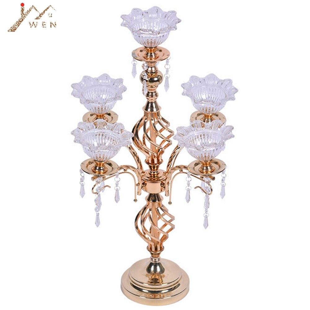 Zlatá 5 hlavic Svíčka H 68cm Svícen s lotosovými svícny Vynikající design Svatební vrchol s přívěsky