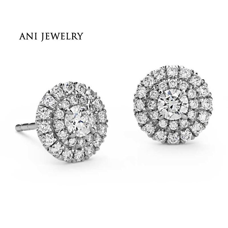 все цены на ANI 18K White Gold Women Wedding Diamond Earrings 1.16 CT Certified I/SI Natural Diamond 2 Round Halo Stud Earring Female aretes