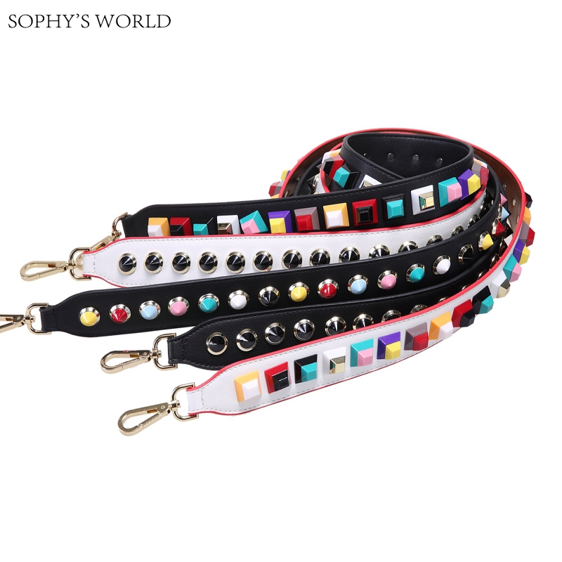 Colorful Rivet Leather Shoulder Strap PU Wide Women Bag Accessories Belts Famous Brand Strap Replacement Strap For Handbag