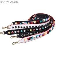 Colorful Rivet Leather Shoulder Strap PU Wide Women Bag Accessories Belts Famous Brand Strap Replacement Strap