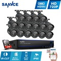 SANNCE 2TB HDD 16CH 1080N HD DVR Video CCTV System 16Pcs 720P IR outdoor Security Camera Surveillance System