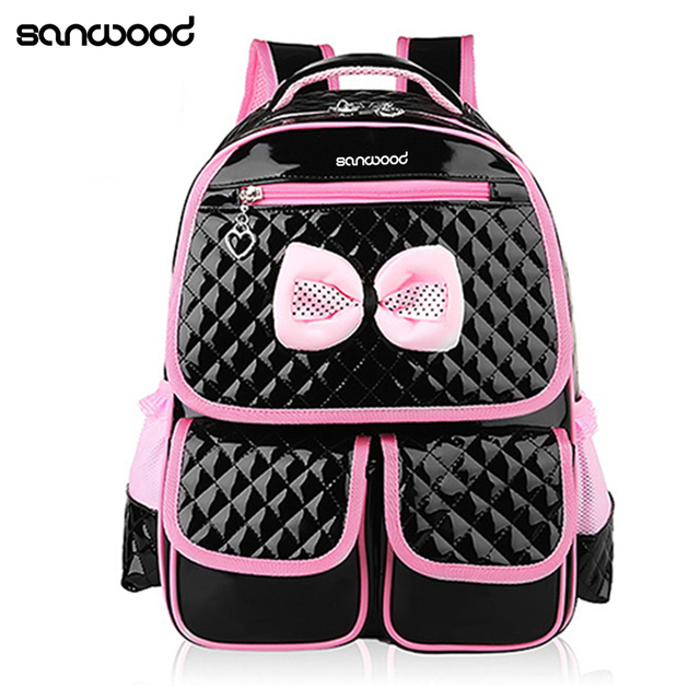 New Trendy Kid Girls Princess Backpack Cute Bowknot Faux Leather Book  Storage School Bag 26c70a2632d67