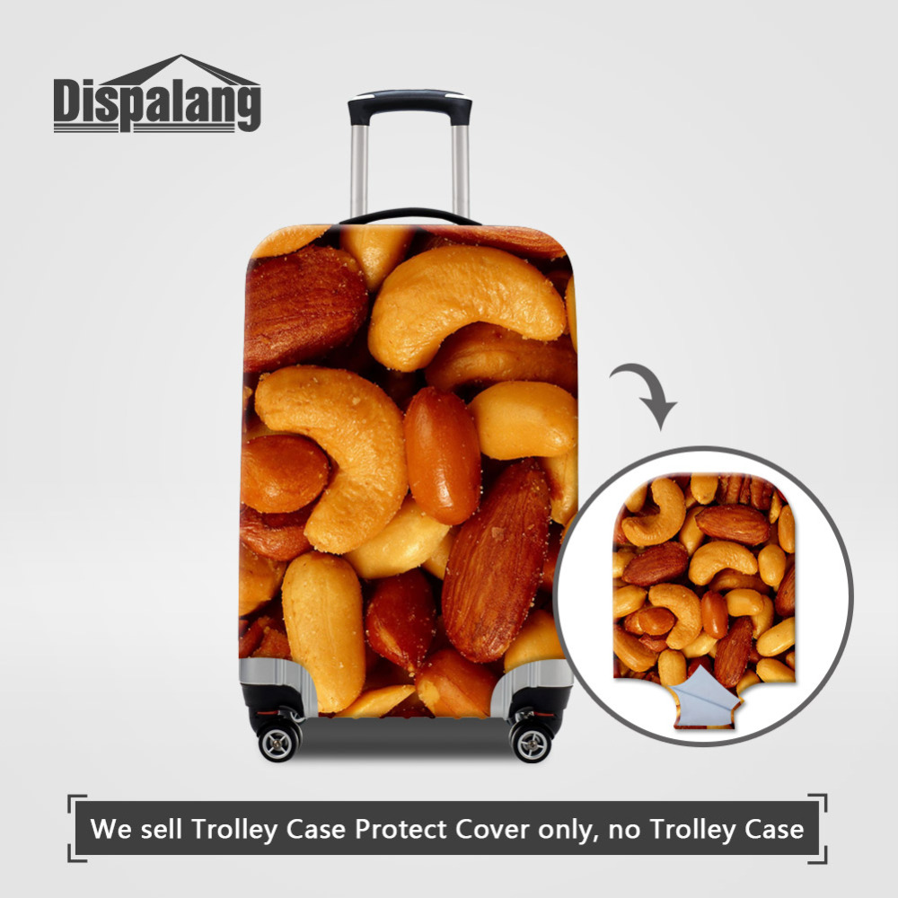 Dispalang Elastic Luggage Covers Nuts Print Suitcase Protective Cover for 18-30 Inch Case Cover Fruits Travel Accessories