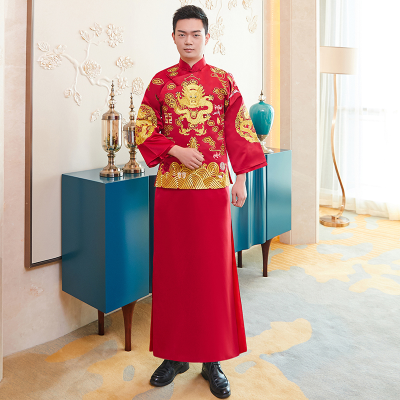 Ancient Bridegroom Wedding Clothes Chinese Men Vintage Tang Clothes Embroidery Dragon Coat+Robe 2PCS Male Marriage Suit S-XXL